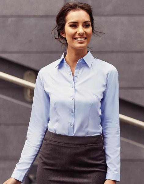Werkkleding borduren overhemd vrouwen blauw