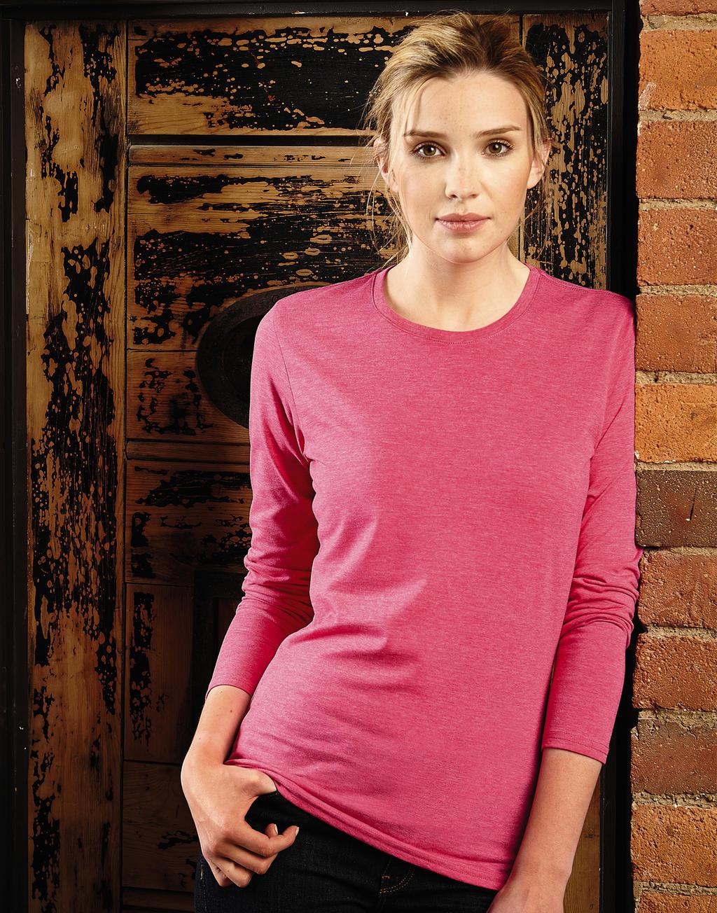 Zeedruk T-shirts roze vrouwen lange mouwen